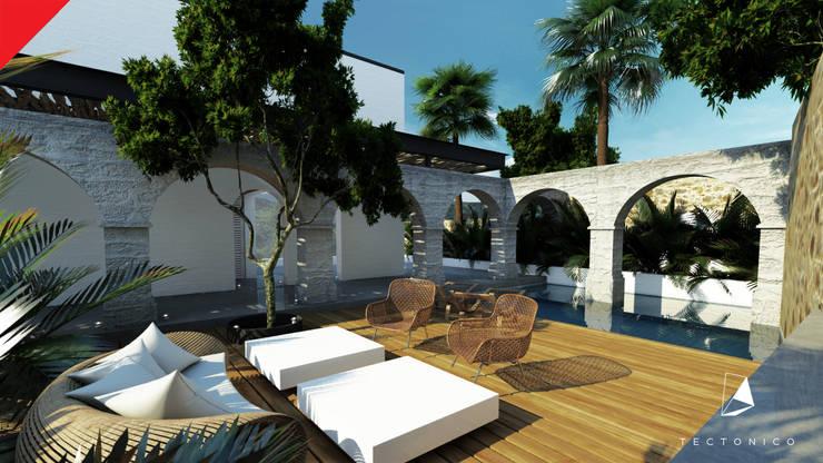 Casa de Campo Tempoal : Albercas de estilo  por Tectónico