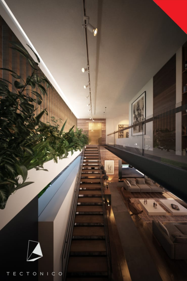 Casa de Campo Querétaro: Pasillos y recibidores de estilo  por Tectónico