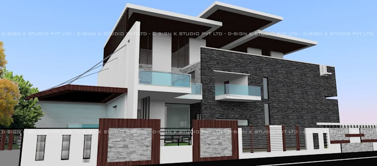 Hill View Residential bungalow for Mr.Anandha Krishnan:  Houses by D-SiGN KSTUDIO™ PVT LTD ARCHITECTS + INTERIORS + LANDSCAPING