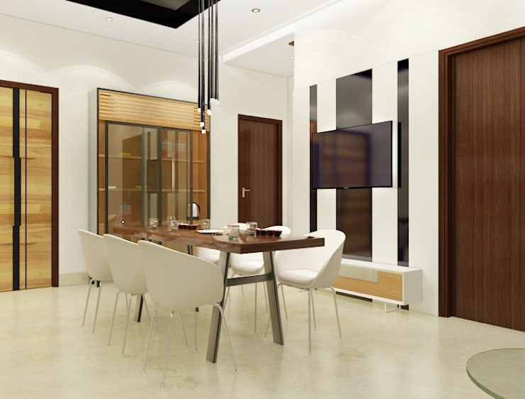 Suneja Residence:  Dining room by Space Interface