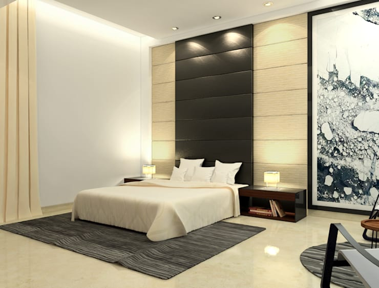 Suneja Residence:  Bedroom by Space Interface