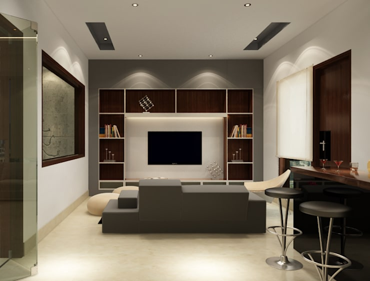 Suneja Residence:  Living room by Space Interface