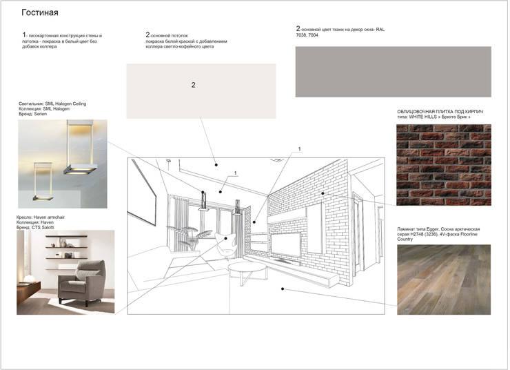 Дизайн проект трехкомнатной квартиры в Москве.: Гостиная в . Автор – Скулков Павел