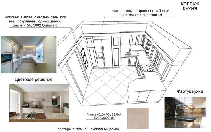 Дизайн проект трехкомнатной квартиры в Москве.: Кухни в . Автор – Скулков Павел
