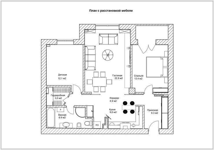 План с расстановкой мебели:  в . Автор – Скулков Павел