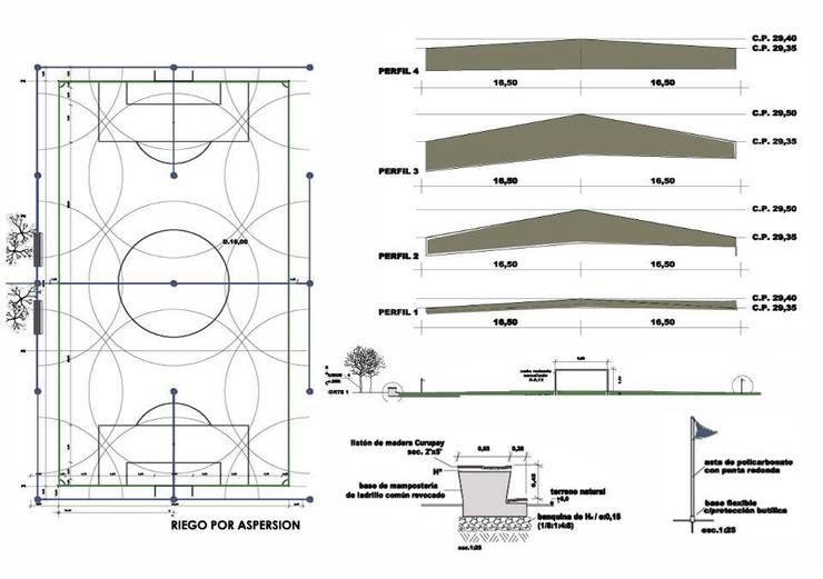 Cancha de Fútbol Kretz S.A:  de estilo  por Dhena CONSTRUCCION DE JARDINES,Rural
