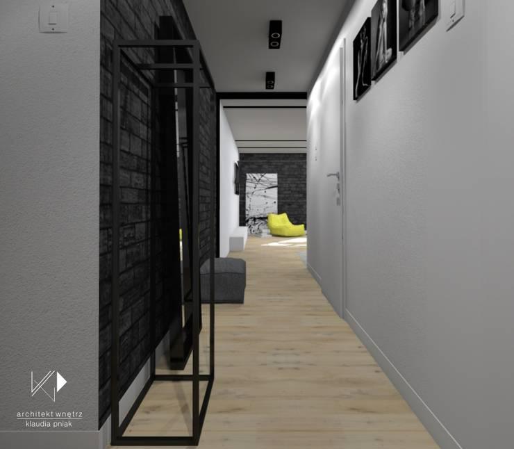 Mieszkanie,Kraków,47m2: styl , w kategorii Korytarz, przedpokój zaprojektowany przez Architekt wnętrz Klaudia Pniak,