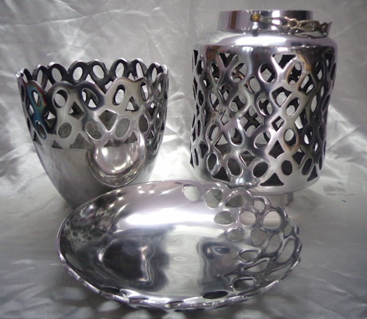 Geometrically Perforated Set of Vase, Tray & Lantern:  Living room by Overseas Trading Corporation