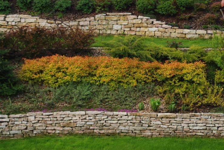 Ogród z altaną: styl , w kategorii Ogród zaprojektowany przez Pracownia Projektowa Architektury Krajobrazu Januszówka,Nowoczesny Piaskowiec