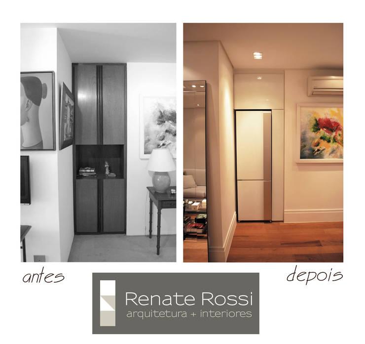 Antigo nicho de armário recebeu a nova geladeira:   por Renate Rossi Arquitetura + Interiores,