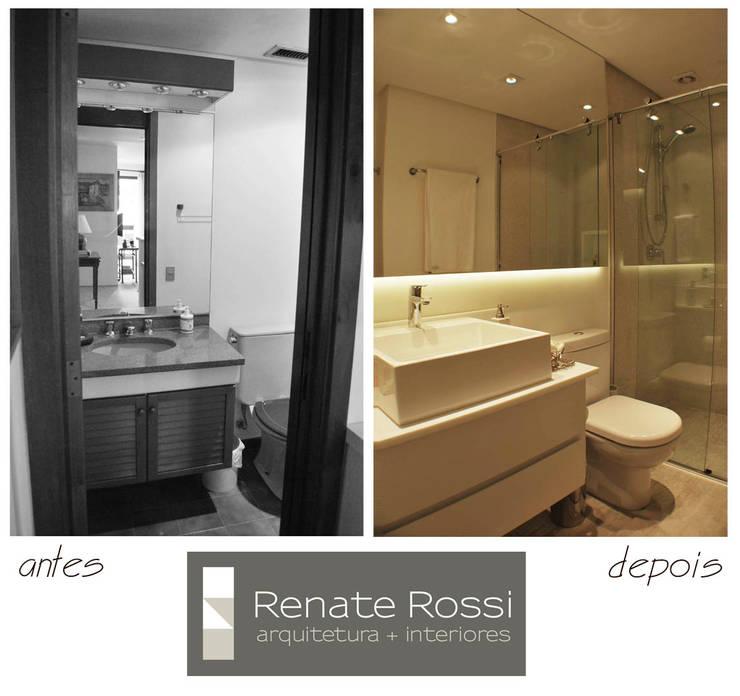 Banheiro Hospede:   por Renate Rossi Arquitetura + Interiores,