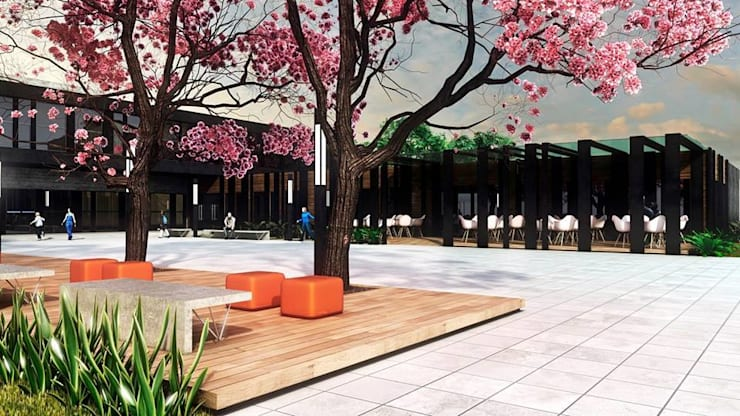 Biblioteca Pública: Espaços comerciais  por Cíntia Schirmer | Estúdio de Arquitetura e Urbanismo