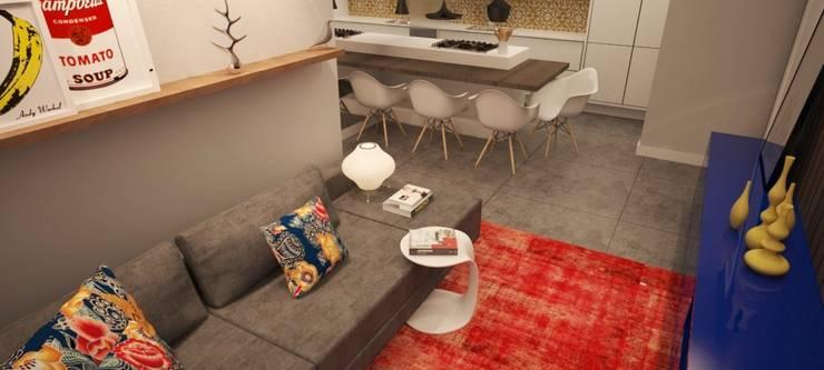 Apartamento BW Salas de estar modernas por Sieli Haynosz / Arquitetura + Interiores Moderno