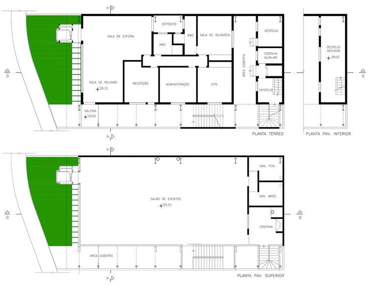 Plantas: Locais de eventos  por Douglas Piccolo Arquitetura e Planejamento Visual LTDA.