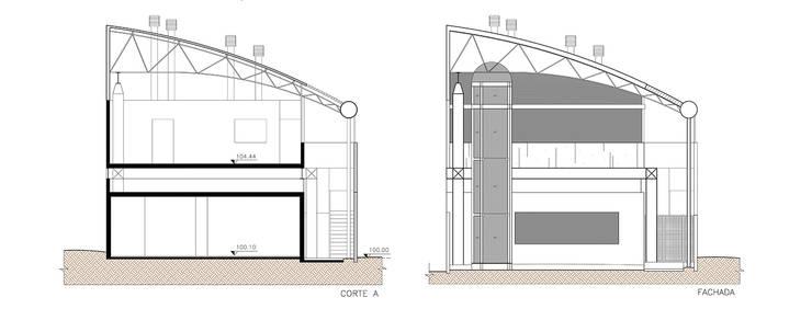 Corte e Fachada: Locais de eventos  por Douglas Piccolo Arquitetura e Planejamento Visual LTDA.