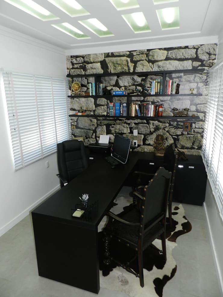 Sala de atendimento: Espaços comerciais  por ANE DE CONTO  arq. + interiores