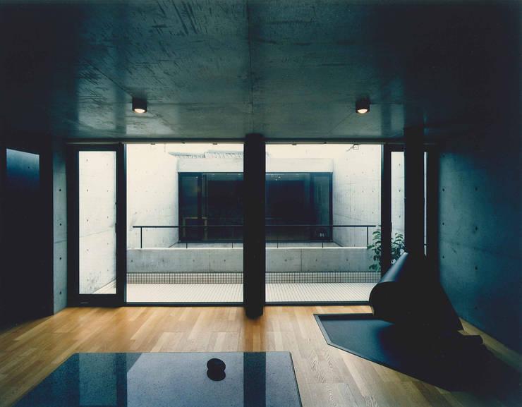 東住吉のコートハウス: 株式会社  小林恒建築研究所が手掛けたリビングです。