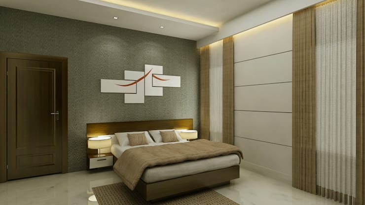 Bedroom Interior:  Bedroom by SquareDrive Living Spaces