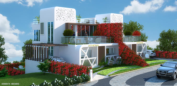 OLYMPIODOROS-  MOUNTAIN HOME OF GREEK GODS......... THIS APT NAME HAS BEEN SUGGESTED BY THE DESIGNER FUSING IN THE ARCHITECTURE WITH THE LANDSCAPE , STREET LIGHTS, PATHWAY FLOORS, COLOR SCHEME, ALL BASED ON GREEK THEME...:  Houses by AIS Designs