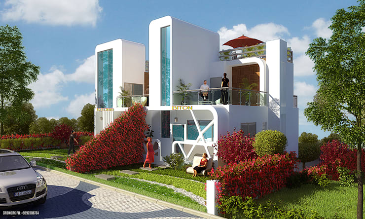 MODERN GREEK THEMED BUNGALOW SCHEME,KHANDALA:  Houses by AIS Designs