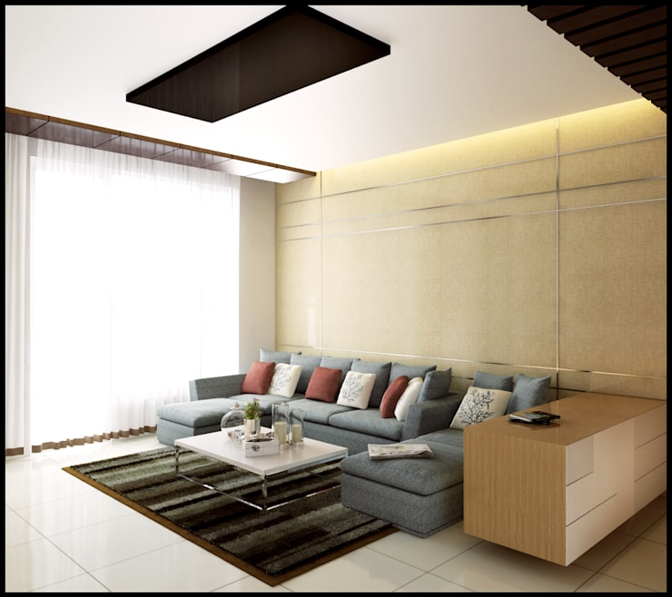 Singh Residence:  Living room by Space Interface