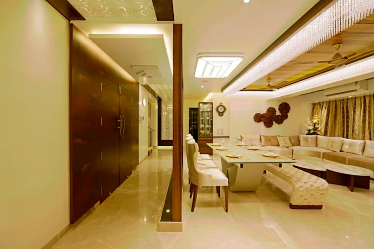 RESIDENTIAL PENTHOUSE INTERIORS:  Dining room by AIS Designs