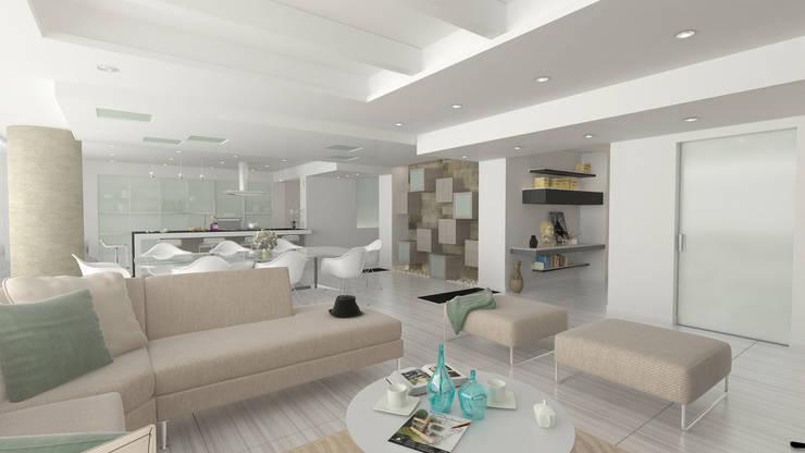 Terraza Peñas Blancas: Salones de estilo  por Lápiz De Sueños