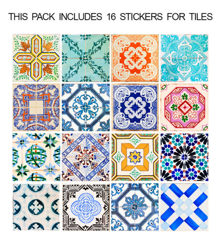 Traditional Spanish Tile Decals - Pack:   por MOONWALLSTICKERS.COM