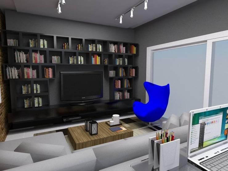 Projeto de interiores_Sala de Estar: Sala de estar  por Cíntia Schirmer | Estúdio de Arquitetura e Urbanismo