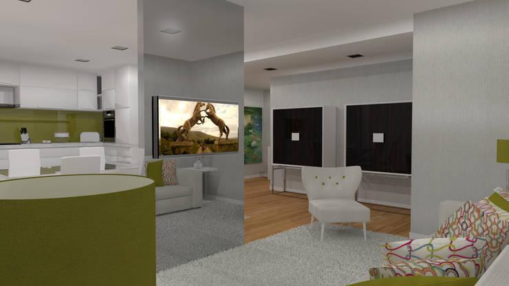 Moradia Felgueiras: Salas de estar  por Macedo Barbosa Interiores