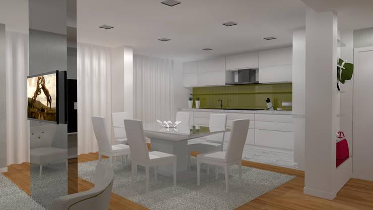 Moradia Felgueiras: Salas de jantar  por Macedo Barbosa Interiores