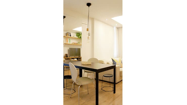 Mesa de Jantar Integrada com Sala de Estar: Salas de jantar  por fpr Studio,
