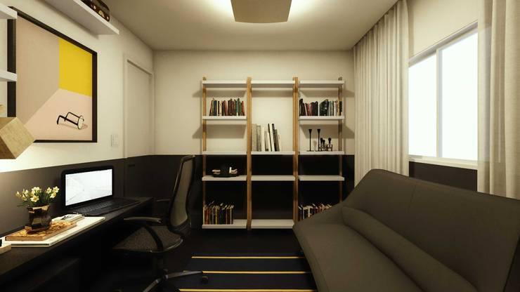 Quarto Hóspede/Escritório: Escritórios  por fpr Studio,Industrial