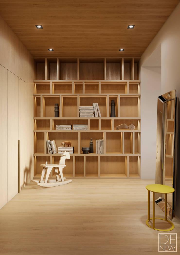 Современные апартаменты скульптора от студии DEnew: Коридор и прихожая в . Автор – DEnew