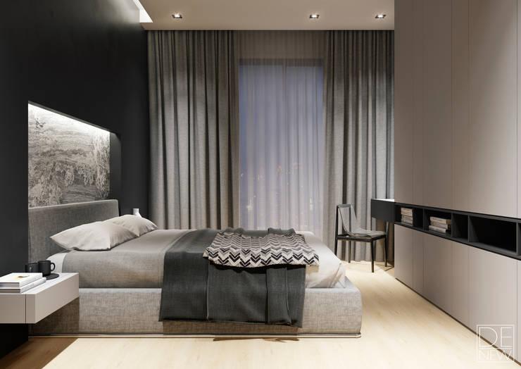 Современные апартаменты скульптора от студии DEnew: Спальни в . Автор – DEnew