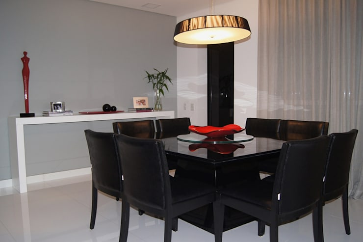 Apartamento Paraíso: Sala de jantar  por Marcia Pellegrini Designer + Interiores
