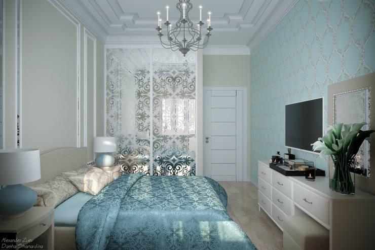 Дизайн спальни в классическом стиле в г. Абинск: Спальни в . Автор – Студия интерьерного дизайна happy.design, Классический