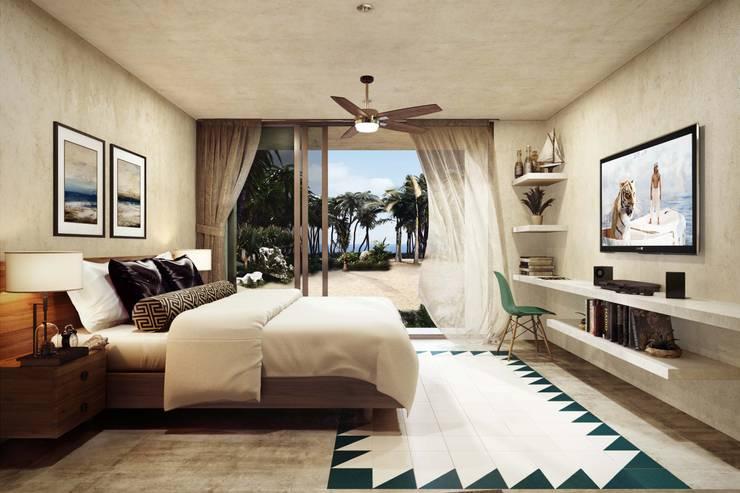 Villas Santa Clara: Recámaras de estilo  por TNGNT arquitectos