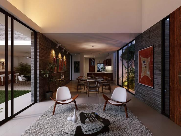 Casa RP: Salas de estilo  por TNGNT arquitectos