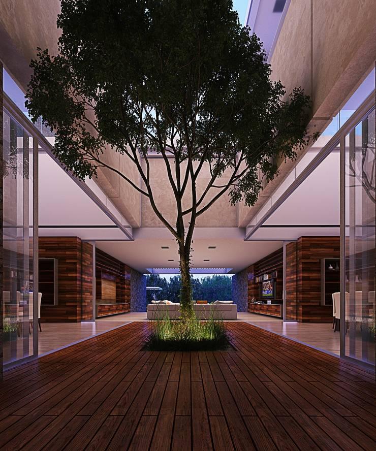Casa HH: Pasillos y recibidores de estilo  por TNGNT arquitectos