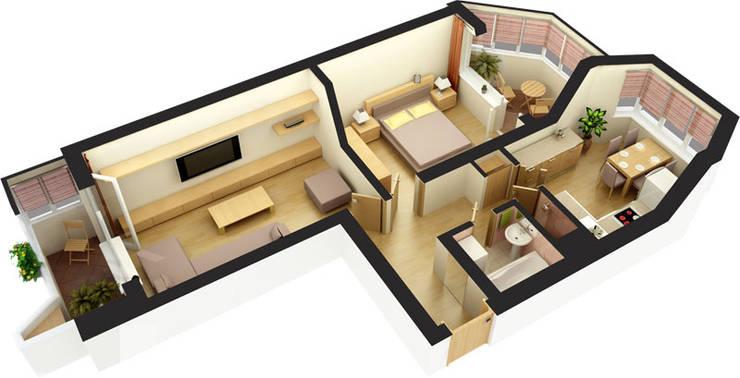 Планировочные решения для малогабаритных квартир. Проект 3. :  в . Автор – ООО 'Бастет'