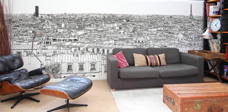 Papier peint Vue de Paris Montparnasse Tour Eiffel Big Panoramique: Murs & Sols de style  par Ohmywall
