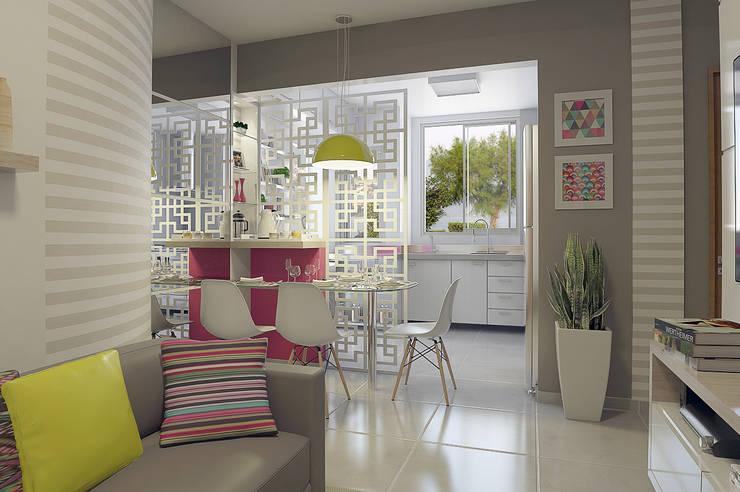 Apartamento Regiane e Bráulio: Salas de jantar modernas por Anelisy Lima Arquitetura e Design