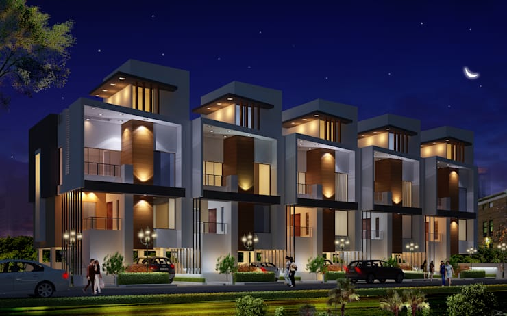 5 ROW HOUSE:  Houses by Spacemekk Designers p.LTD,Modern Wood Wood effect