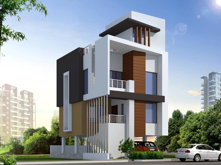 ROW HOUSE HAVING THREE BEDROOMS:  Houses by Spacemekk Designers p.LTD,Modern Wood Wood effect