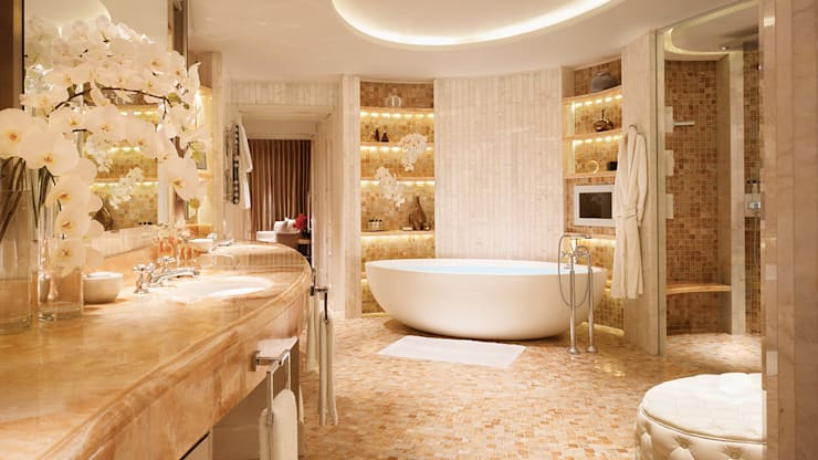 Corinthia Hotel Penthouses:  Bathroom by Debbie Flevotomou Architects Ltd.