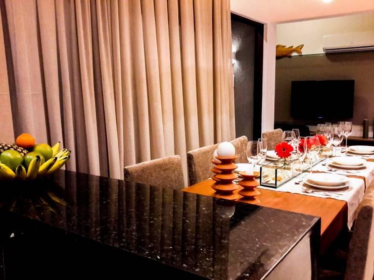 sala de jantar: Salas de jantar rústicas por Deise leal interiores