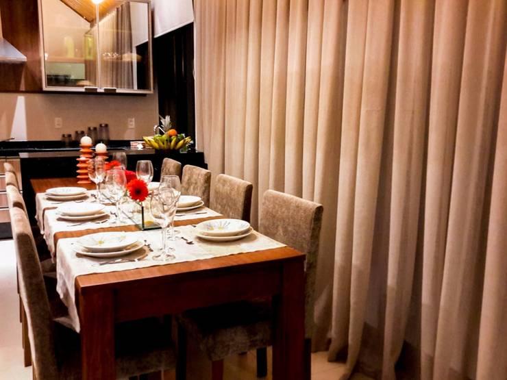 rústico chique: Salas de jantar rústicas por Deise leal interiores