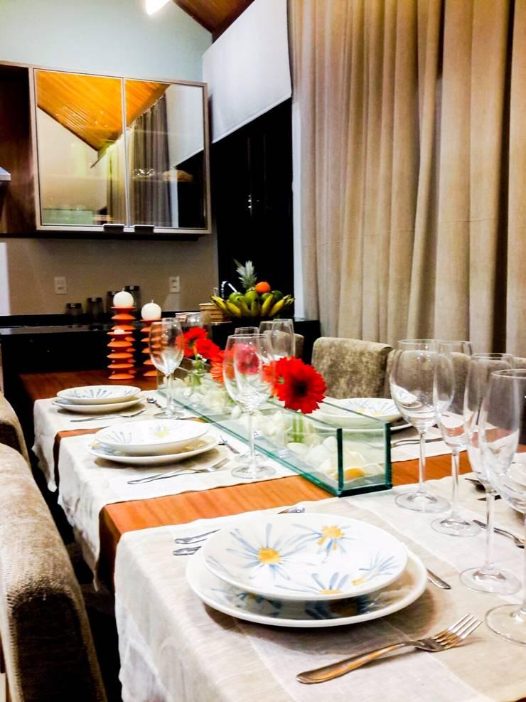decoração: Salas de jantar rústicas por Deise leal interiores