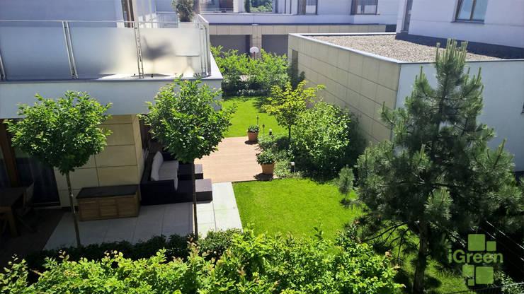 Główne wnętrze ogrodu.: styl , w kategorii  zaprojektowany przez IGREEN Architektura Krajobrazu i Miejskie Formy